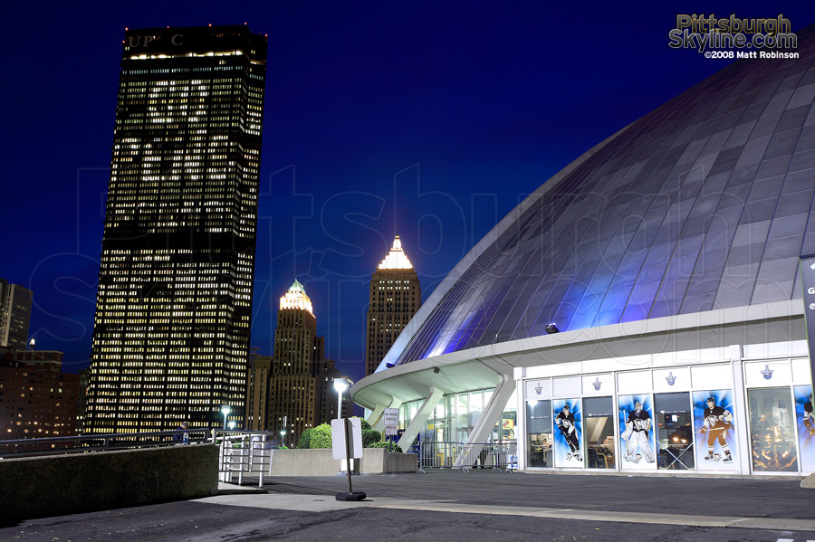US Steel tower and Mellon Arena during the finals.
