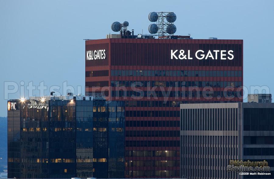 K&L Gates sign atop One Oliver Plaza