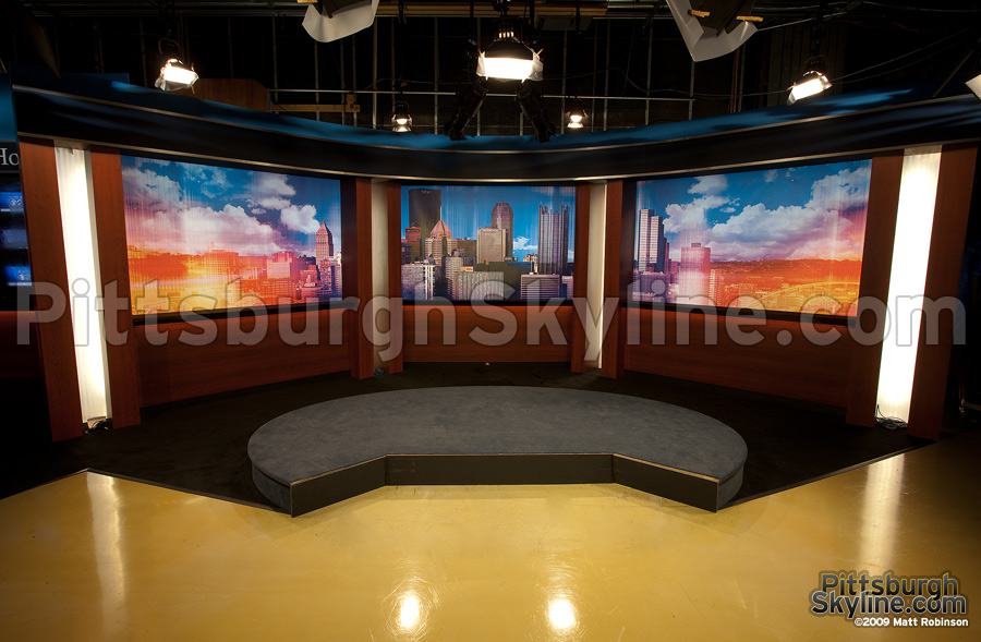 KDKA stand-up area cityscape backdrop