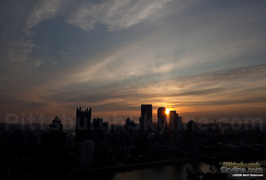 Sunburst behind the Pittsburgh Skyline
