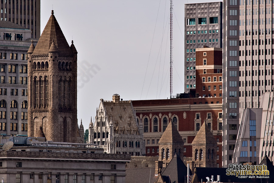 Union Trust Building and Allegheny County Courthouse.