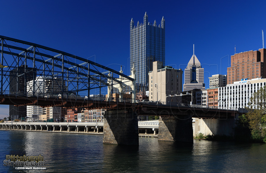 Smithfield Street Bridge and PPG Place.