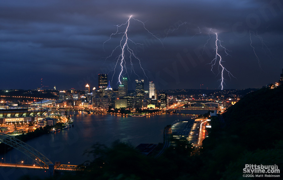Double Lightning Strike over Pittsburgh, PA