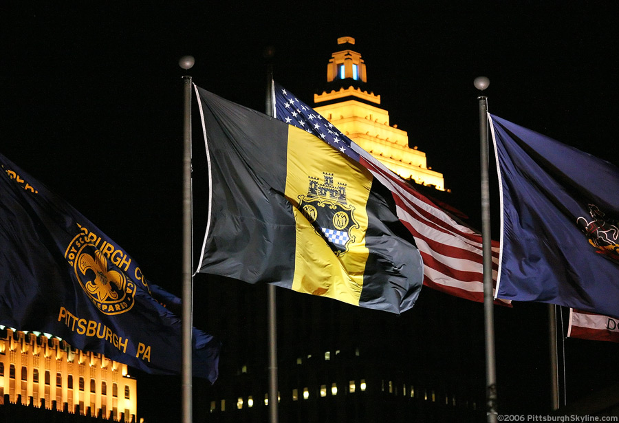 City of Pittsburgh flag at night