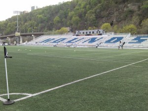 Football Lines from Pitt's Blue-Gold Scrimmage were gone by Sunday's Riverhounds Game at Highmark Stadium.