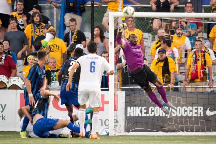 Ryan Thompson made three saves and was busy most of the second half dealing with pressure from Charlotte set pieces. Photo Courtesy of Terry O'Neill/Pittsburgh Riverhounds