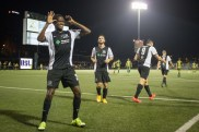 """Lebo Moloto celebrates what his coach, Mark Steffens called a """"World Class Goal"""" that gave the Riverhounds the lead in the 68th minute vs Rochester (Sept 2015)"""