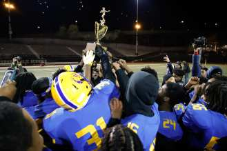 PITTSBURGH, PENNSYLVANIA : Westinghouse celebrates after defeating Allderdice, 36-20, during the Pittsburgh City League Football Championship game at Cupples Stadium on November 14, 2020 in Pittsburgh, Pennsylvania (Photo by Jared Todhunter)