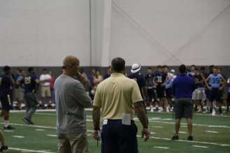 Matt Canada and Pat Narduzzi at Pitt's Prospect Camp