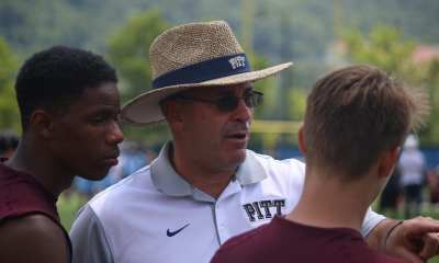 Pat Narduzzi at Pitt's 7x7 camp (Photo credit: Joe Steigerwald)
