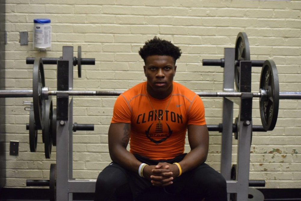 Lamont Wade works out at Clairton High School -- ALAN SAUNDERS