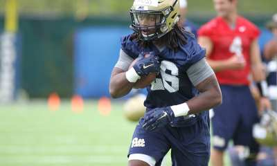 Chawntez Moss takes care of the ball during drill at the first practice of the season (Photo credit: David Hague)