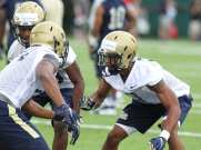 Defensive Ends work out during the first practice of the season (Photo credit: David Hague)