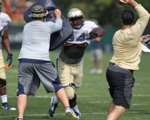 Amir Watts (34) Practices rushing the Quarterback (Photo credit: David Hague)