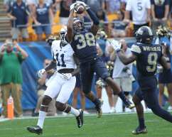 Ryan Lewis with the INT to seal the win over Penn State, September 10, 2016 (Photo credit: David Hague)