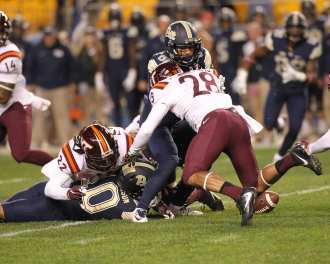 Quadree Henderson Fumble October 27, 2016 (Photo credit: David Hague)