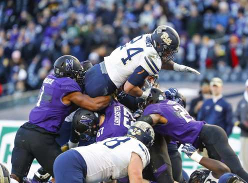 James Conner #24 of the Pittsburgh Panthers is unable to score from one yard line in the first quarter. The Northwestern Wildcats defeated the Pittsburgh Panthers 31-24 in the 2016 New Era Pinstripe Bowl at Yankee Stadium on Wednesday, December 28, 2016.