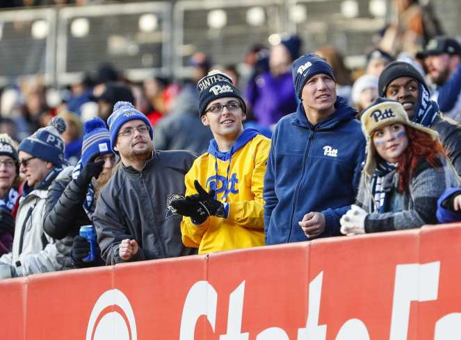 Pitt fans watch a replay. The Northwestern Wildcats defeated the Pittsburgh Panthers 31-24 in the 2016 New Era Pinstripe Bowl at Yankee Stadium on Wednesday, December 28, 2016.