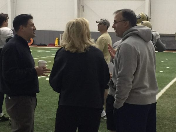 New Pitt AD Heather Lyke with Coach Pat Narduzzi