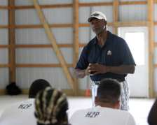 Pitt Freshman get a talk from Mel Blount at the Mel Blount Youth Leadership Initiative (Photo by David Hague)
