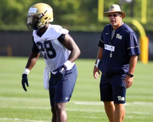 Pat Narduzzi and Anthony McKee Jr. August 1, 2017(Photo by David Hague)