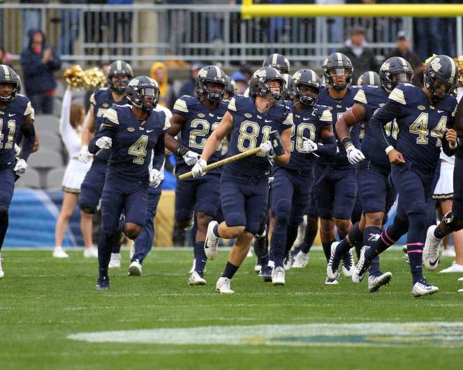 Pitt Runs on the field for their game against Virginia October 28, 2017 -- David Hague