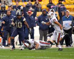 Quadree Henderson (10) returns a punt return 75 yards for a touchdown October 28, 2017 -- David Hague