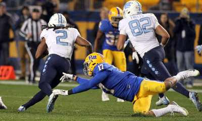 Rashad Weaver (17) can't tackle Jordan Brown (2) of UNC at Heinz Field on November 9, 2017 in Pittsburgh, Pennsylvania. --DAVID HAGUE
