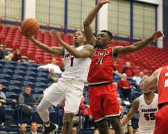 Mike Lewis II (1) drives the lane as the Duquesne Dukes took on Lamar December 19, 2017 -- DAVID HAGUE