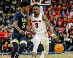 Tarin Smith (3) and Marcus Carr (5) in the City Game at PPG Paints Arena December 1, 2017 -- DAVID HAGUE