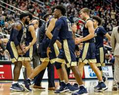 Pitt celebrates at media time out in the City Game at PPG Paints Arena December 1, 2017 -- DAVID HAGUE