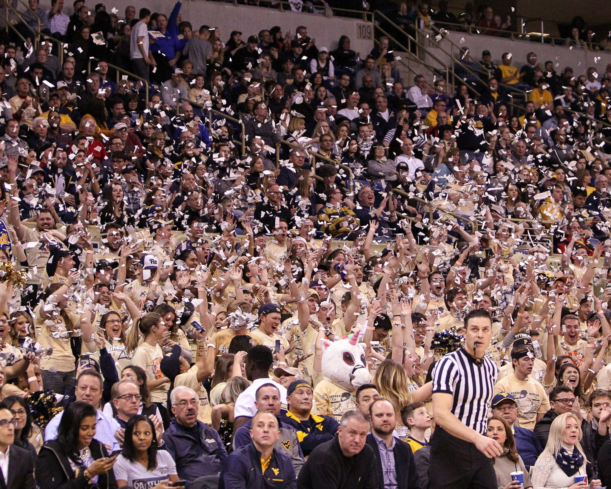 Pitt Student Section celebrates their first basket as the Pitt Panthers take on West Virginia on December 9, 2017 -- DAVID HAGUE