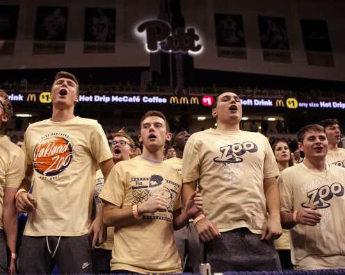 The Oakland Zoo gets fired up as the Pitt Panthers take on West Virginia on December 9, 2017 -- DAVID HAGUE