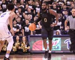Jared Wilson-Frame (0) brings the ball up court against Duke on January 10, 2018 -- DAVID HAGUE