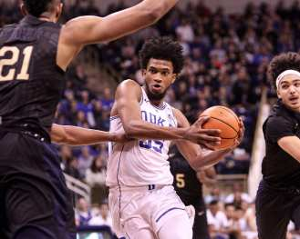 Marvin Bagley III (35) drives the lane against Pitt on January 10, 2018 -- DAVID HAGUE