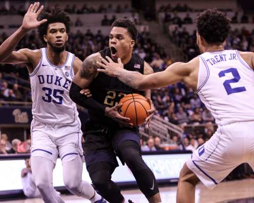 Shamiel Stevenson (23) against Duke on January 10, 2018 -- DAVID HAGUE