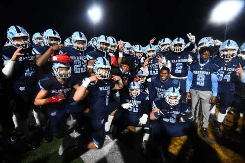PITTSBURGH, PENNSYLVANIA - NOVEMBER 13: Central Valley Celebrates victory of the WPIAL Class 3-A Football Championship game at Newman Stadium on November 13, 2020 in Pittsburgh, Pennsylvania (Photo by Justin Berl)
