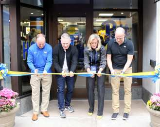 Cutting of the ribbon for The Pitt Shop April 7, 2019 -- David Hague/PSN