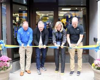 Cutting of the ribbon for The Pitt Shop April 7, 2019 -- David Hague/PSN