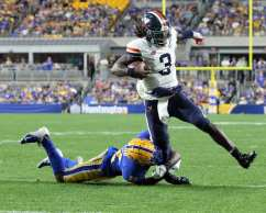 Bryce Perkins (3) tackled by Paris Ford (12) -- August 31, 2019 Photo By David Hague/PSN
