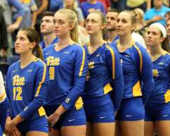 Pitt volleyball lined up for National Anthem October 5, 2018 -- DAVID HAGUE