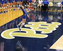 Pitt volleyball player serves October 5, 2018 -- DAVID HAGUE