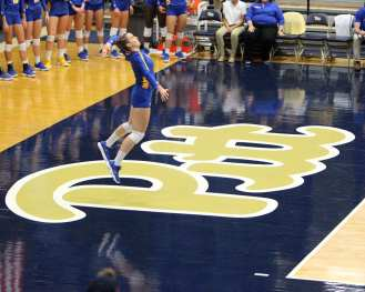 Pitt volleyball player serves October 5, 2018 -- DAVID HAGUE
