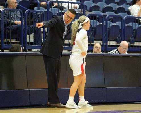 Coach Dan Burt talks to Chassidy Omogrosso (2) November 12, 2018 -- David Hague/PSN