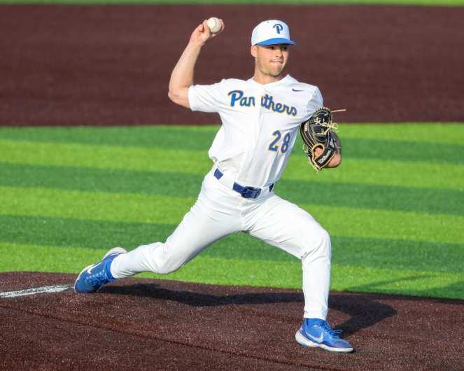 Jordan McCrum (28) Pitt Baseball April 6, 2021 Photo by David Hague/PSN