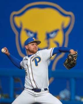 Matt Gilbertson (45) Pitt Baseball April 17, 2021 Photo by David Hague/PSN