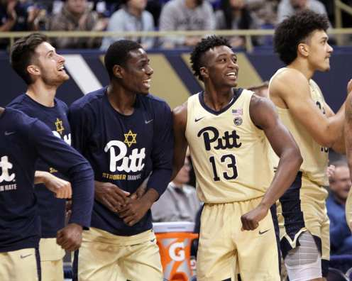 Pitt Bench celebrating January 9, 2019 -- David Hague/PSN