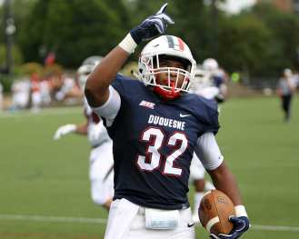 A.J. Hines (32) Duquesne vs Lock Haven September 1, 2018 -- DAVID HAGUE