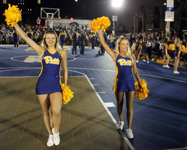 Pitt Cheerleaders at Courtside by the Cathedral October 5, 2018 -- DAVID HAGUE