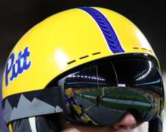 Heinz Field reflection in the goggles of a student November 14, 2019 -- David Hague/PSN